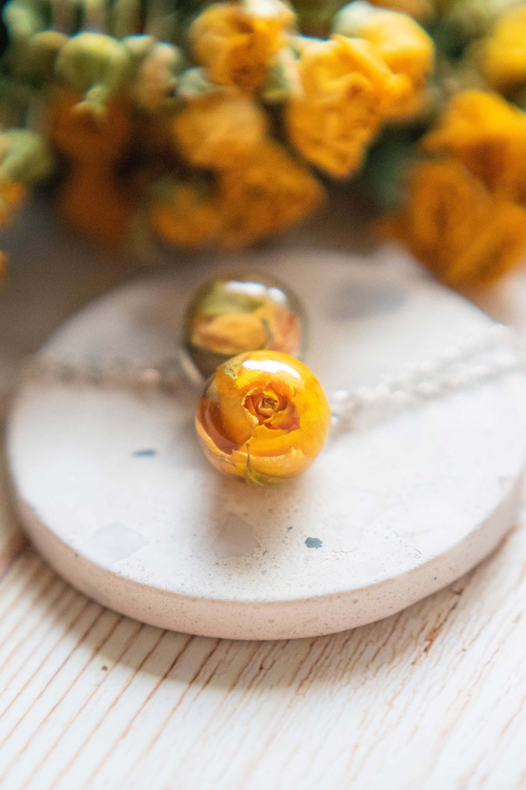 Real Dried Yellow Rose Flower Resin Pendant Necklace Sterling Silver Floral Charm Boho Necklace Jewelry Floral Neverland Floralfy