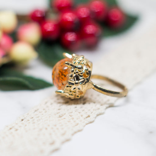 Real Minoan Lace Flower Adjustable Gold Plated Vintage Ring, Real Flower Jewelry