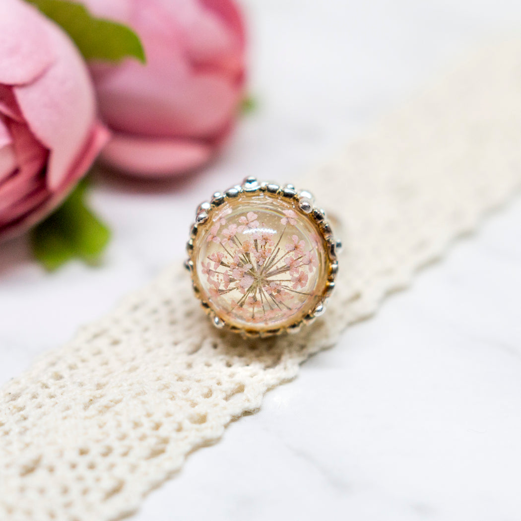 Real Minoan Lace Flower Flower Adjustable Silver Plated Vintage Ring, Real Flower Jewelry, Floral Jewelry