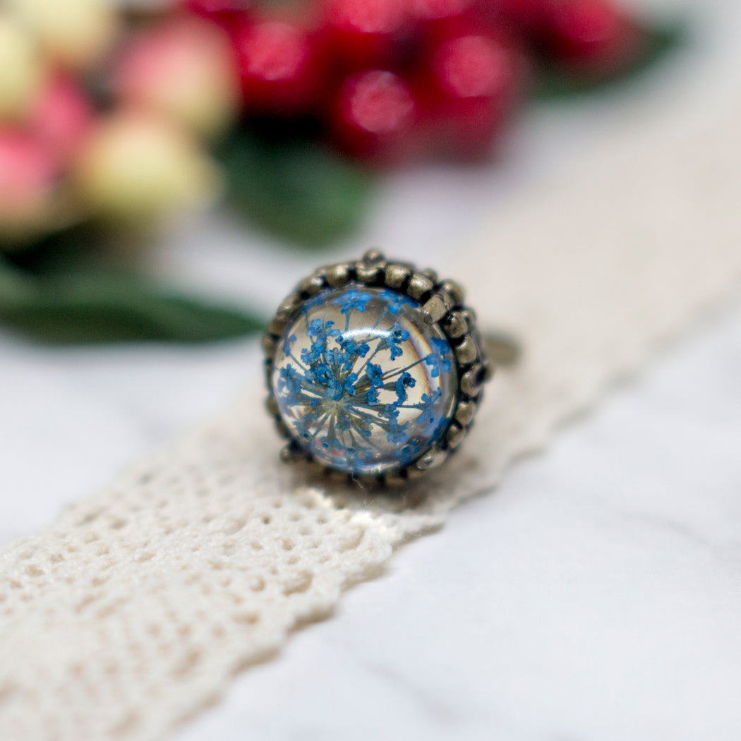 Real Minoan Lace Flower Adjustable Vintage Bronze Ring, Real Flower Jewelry