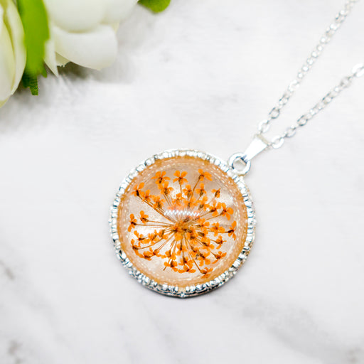 Real Minoan Lace Flower Necklace, Real Flower Jewelry, Silver Plated Plated Flower Pendant