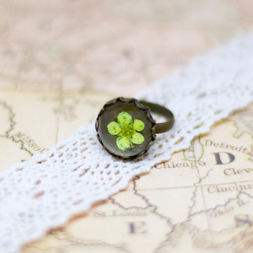 Real Plum Flower Vintage Bronze Adjustable Ring, Real Flower Jewelry