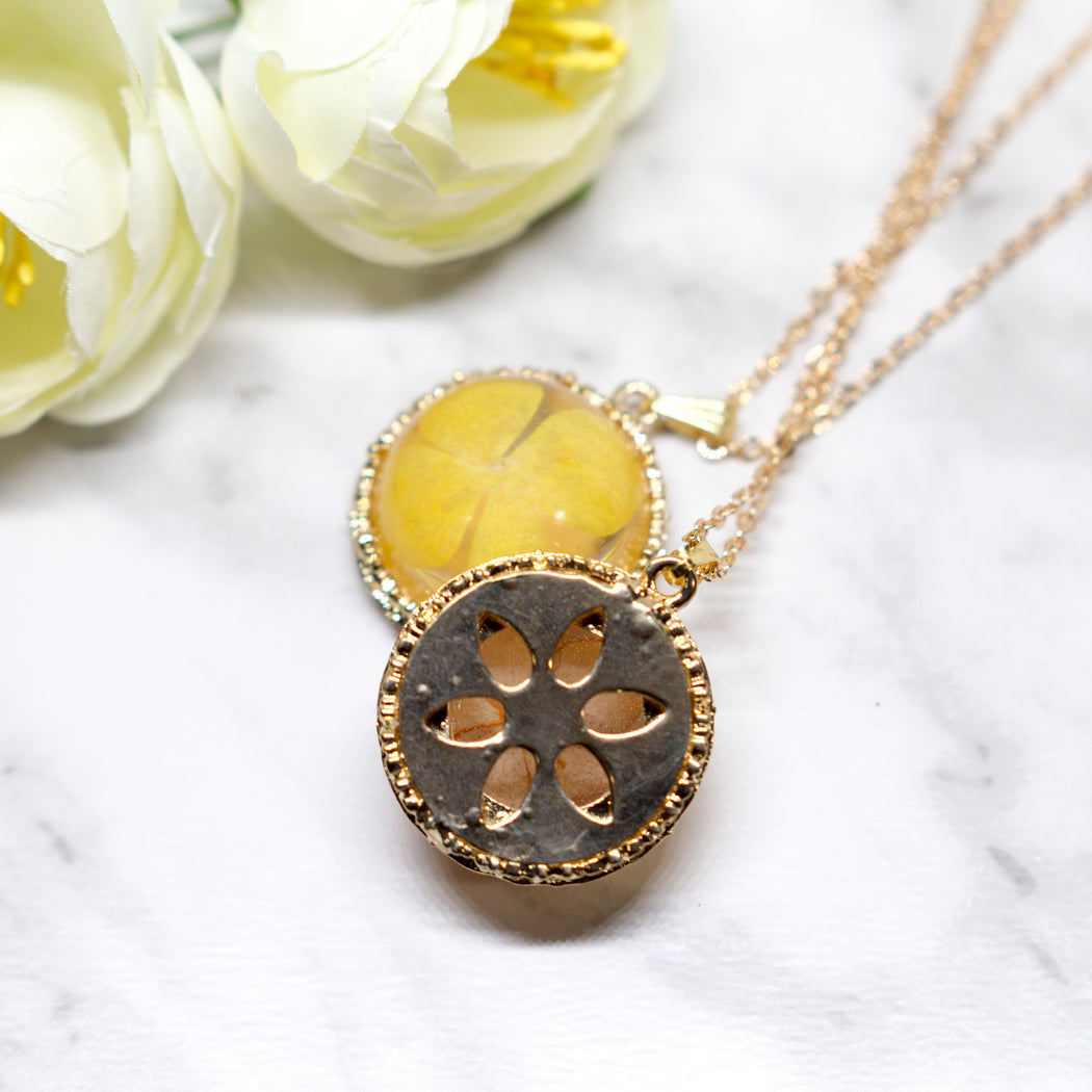 Real Hydrangea Flower Necklace, Real Flower Jewelry, Gold Plated Flower Pendant