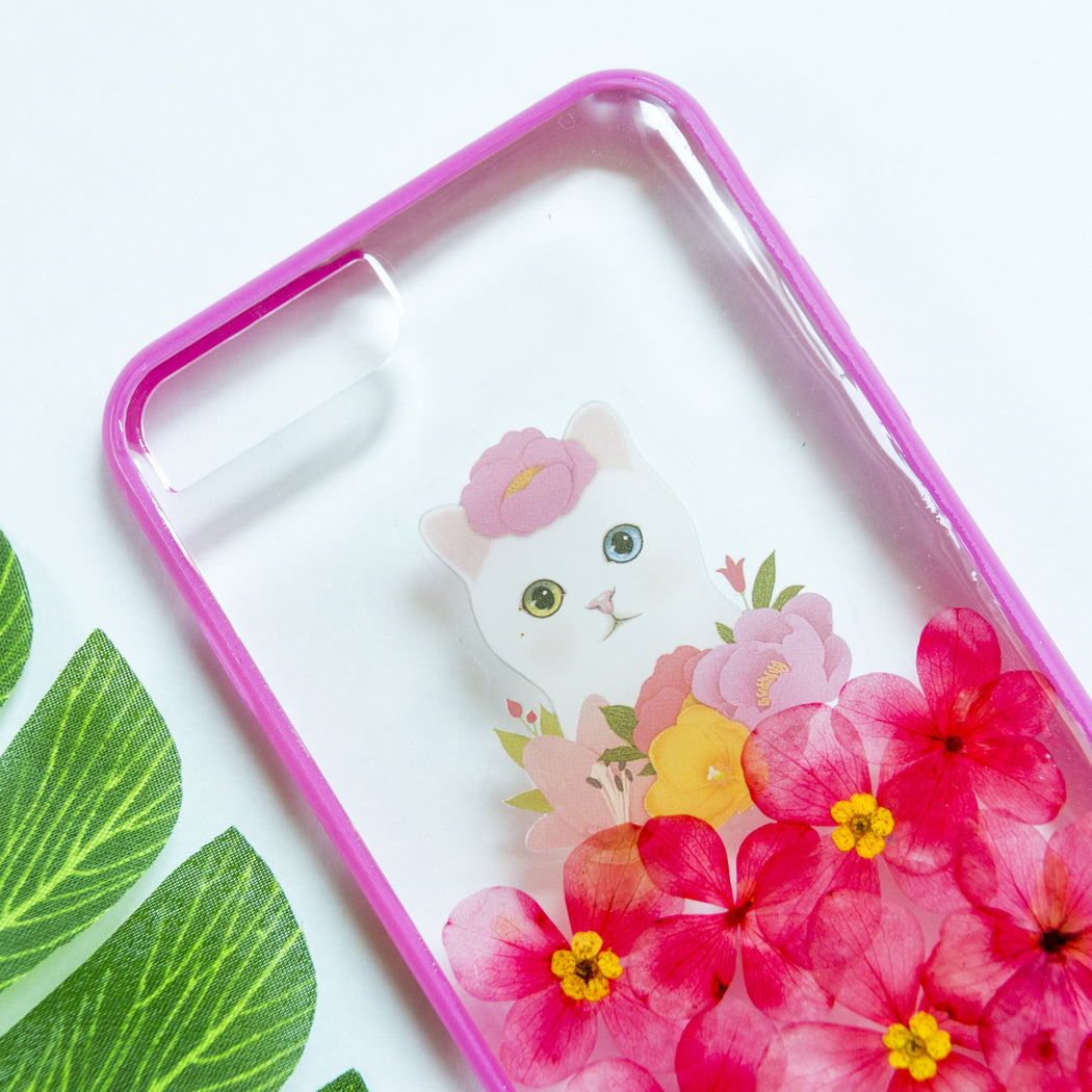 Soft Kitty | Pressed Flower iPhone Bumper Case | iPhone 7/8 Plus