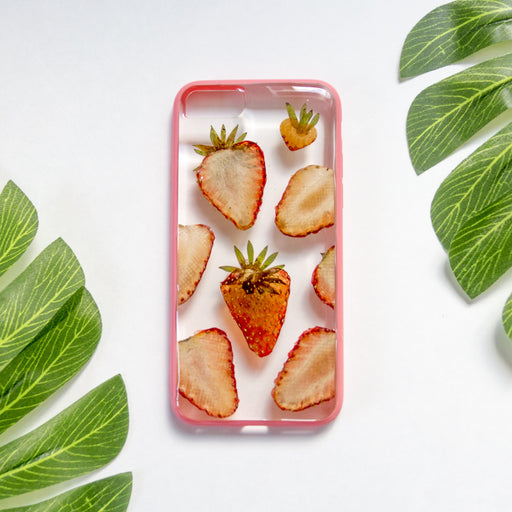 Strawberry Breeze | Pressed Flower iPhone Bumper Case | iPhone 7/8