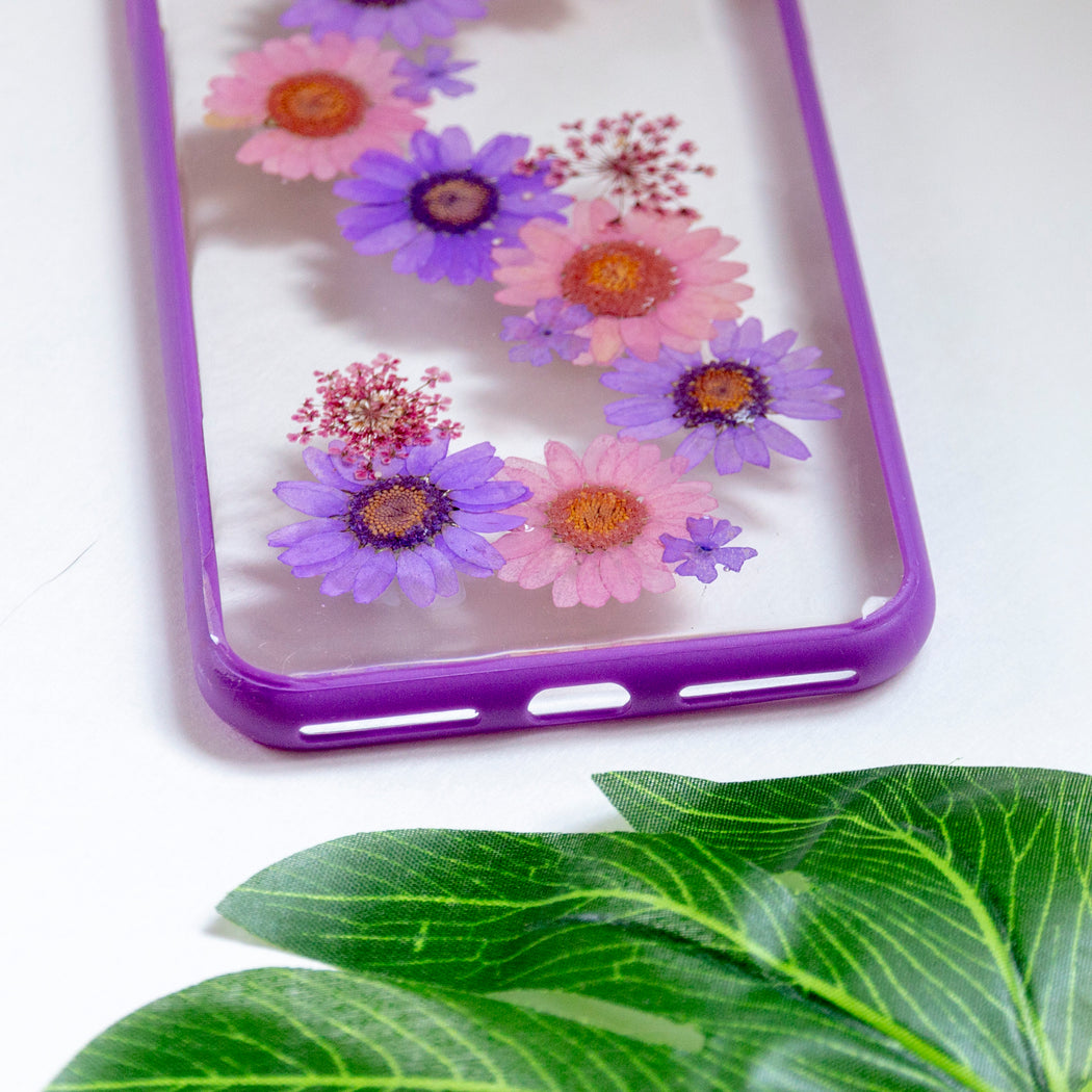 Violet Daisy | Pressed Flower iPhone Bumper Case | iPhone 7/8 Plus