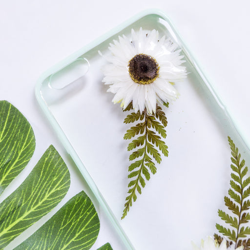 pressed flower green fern leaf cute protective floral iphone 6 6s plus bumper case winter tale floral neverland floralfy