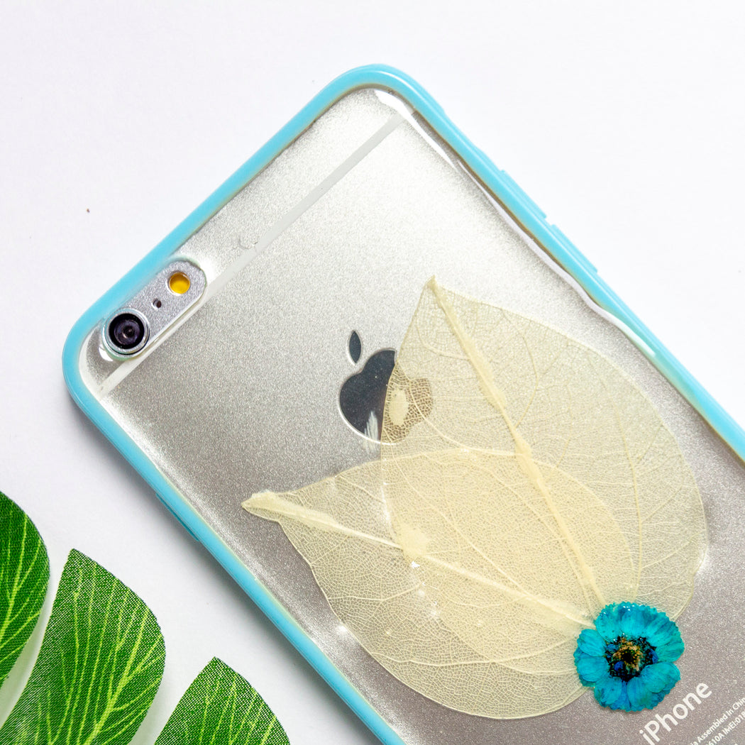 real pressed flower floral cute protective iphone 6 6s plus bumper case blue wings floral neverland floralfy