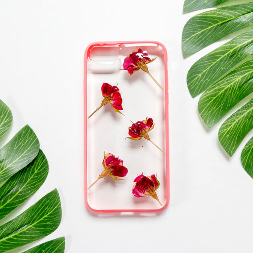 pressed red rose flower cute protective floral iphone 7 8 bumper case aesthetic cherry rose floral neverland floralfy
