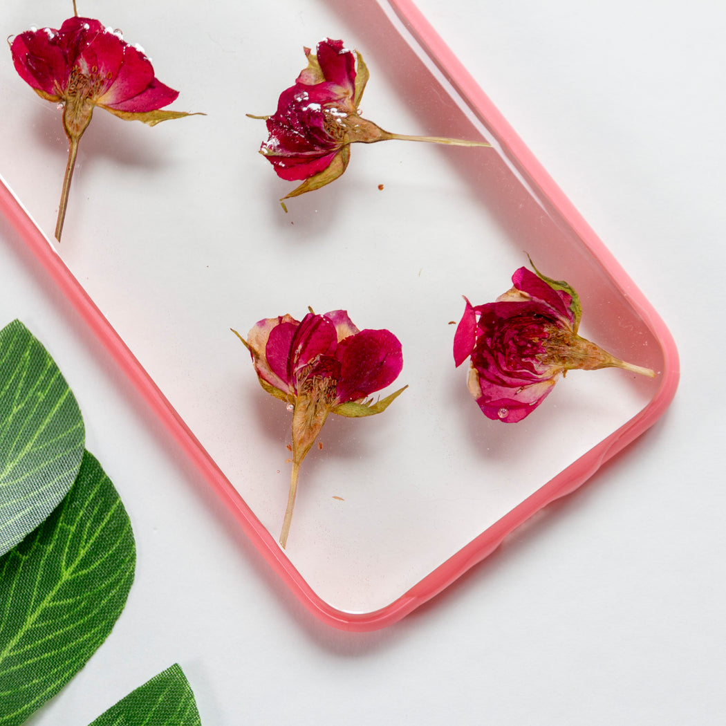 Cherry Rose | Pressed Flower iPhone Bumper Case | iPhone 7/8