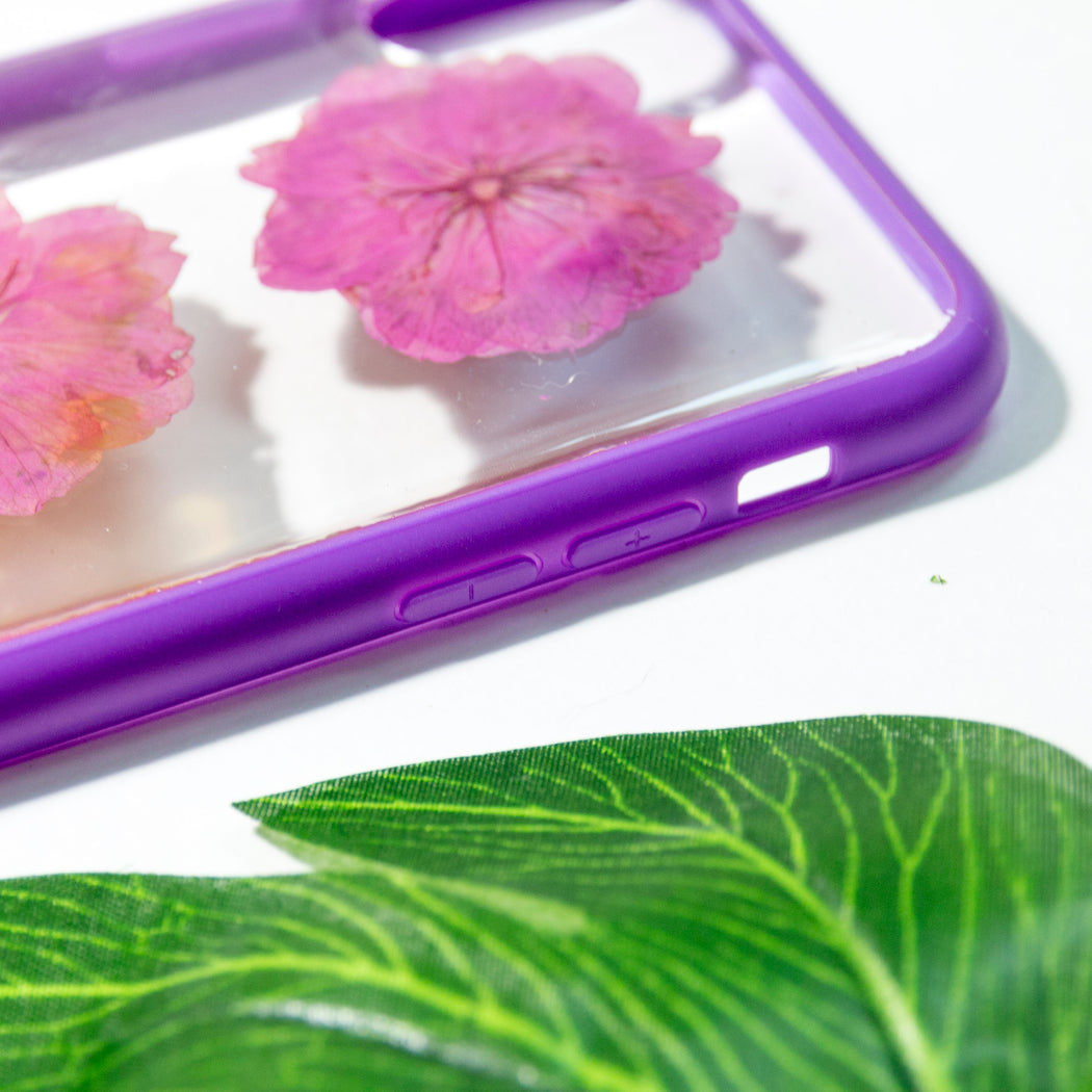 Magenta | Pressed Flower iPhone Bumper Case | iPhone X/XS