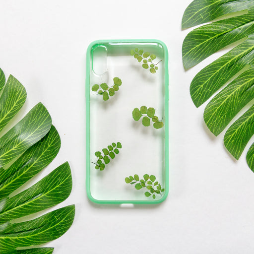 real_pressed_flower_green_fern_leaves_cute_protective_anti_drop_bumper_iPhone_X_XS_case_floral_neverland_floralfy