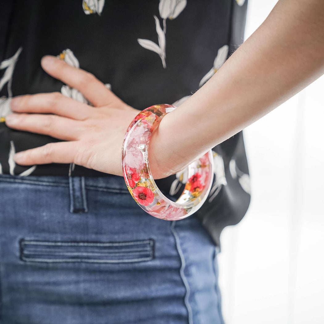 Real Pressed Flower Resin Bangle Bracelet, Pink Cherry Blossoms