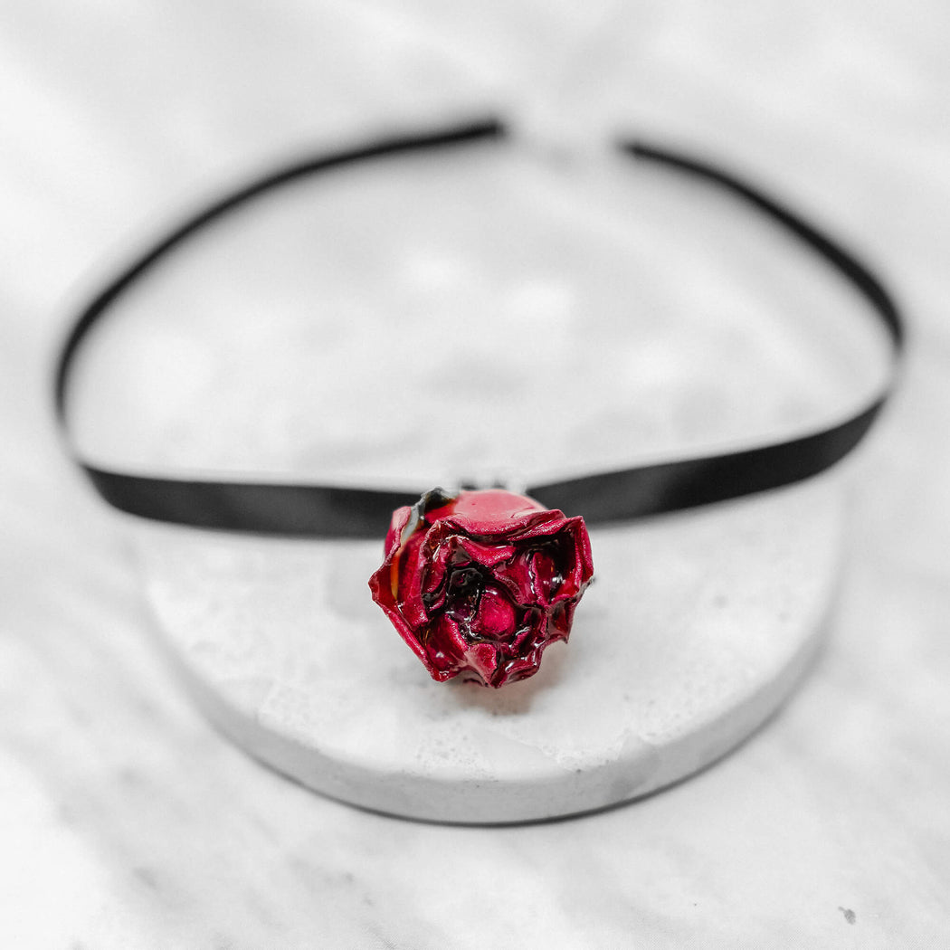 Real Dried Rose Choker Necklace | Sterling Silver Jewelry