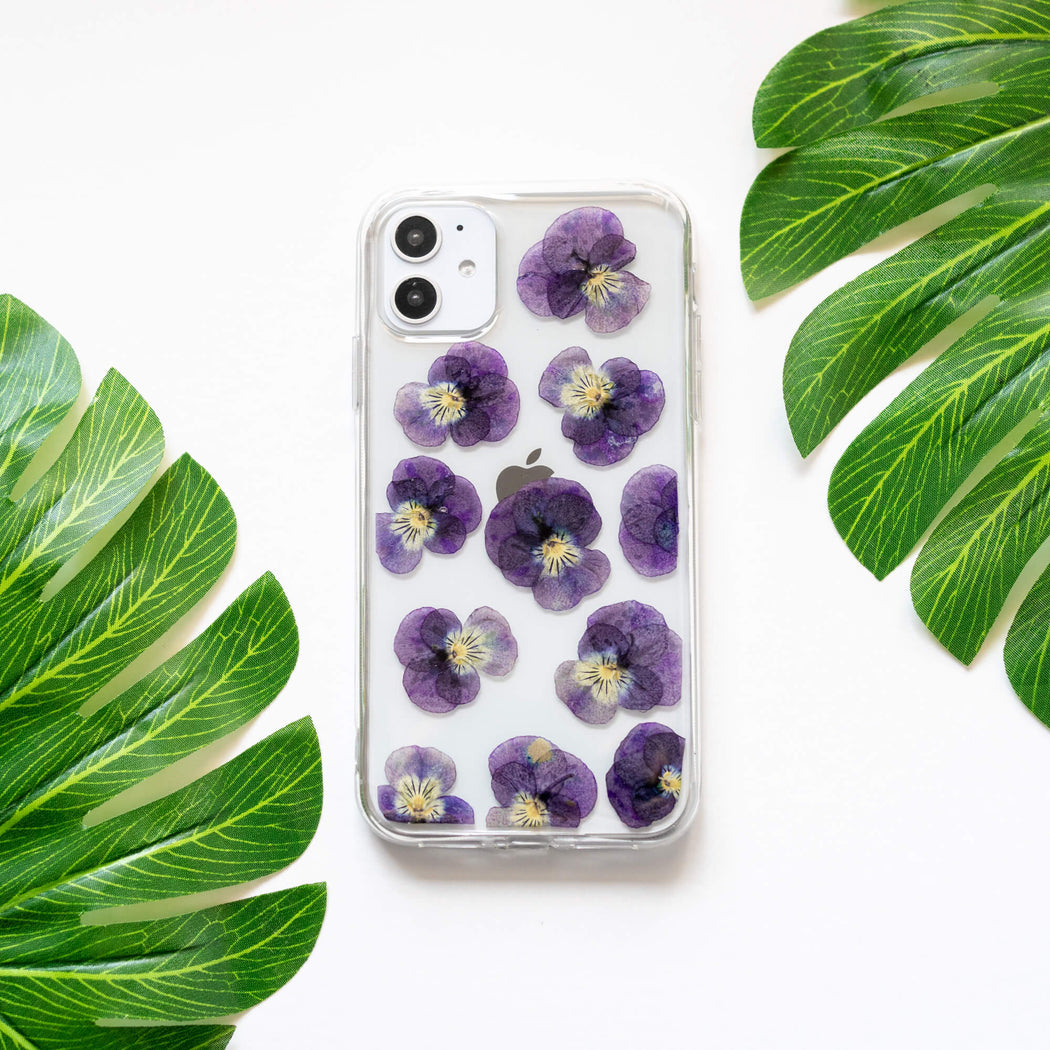 Purple Pansy | Pressed Flower iPhone Bumper Case | iPhone 11