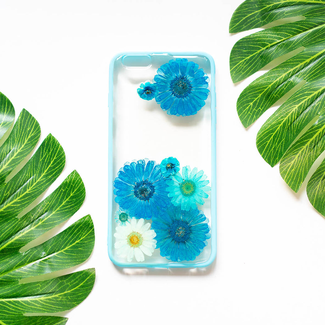 Turquoise | Pressed Flower iPhone Bumper Case | iPhone 6/6s Plus