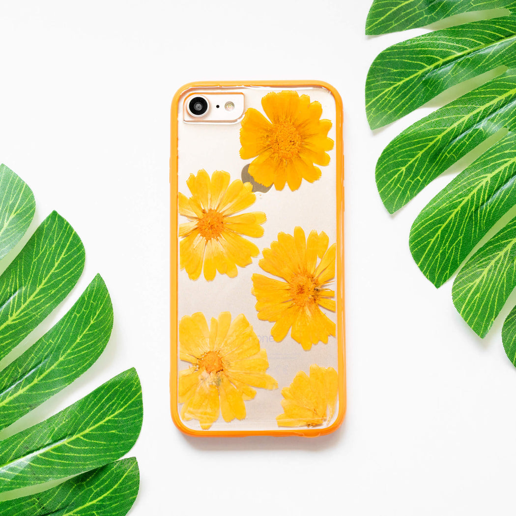 Orange Sunset | Pressed Flower iPhone Bumper Case | iPhone 7/8/SE