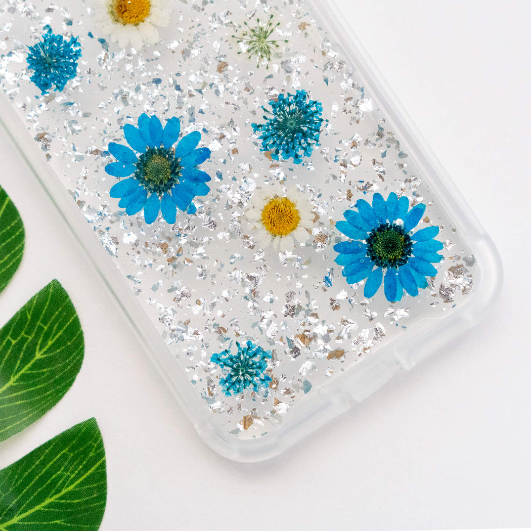 pressed flower iphone case cute protective anti drop bumper blue daisy silver foil luxury wildflower floral neverland floralfy