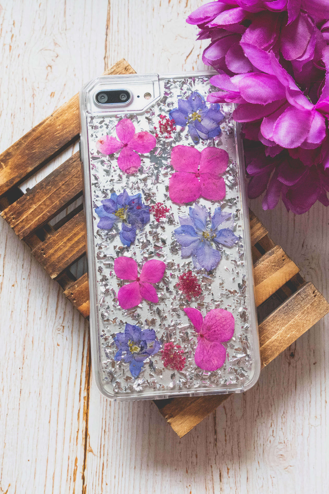 pressed flower iphone case cute protective anti drop bumper silver foil glitter lavender floral neverland floralfy