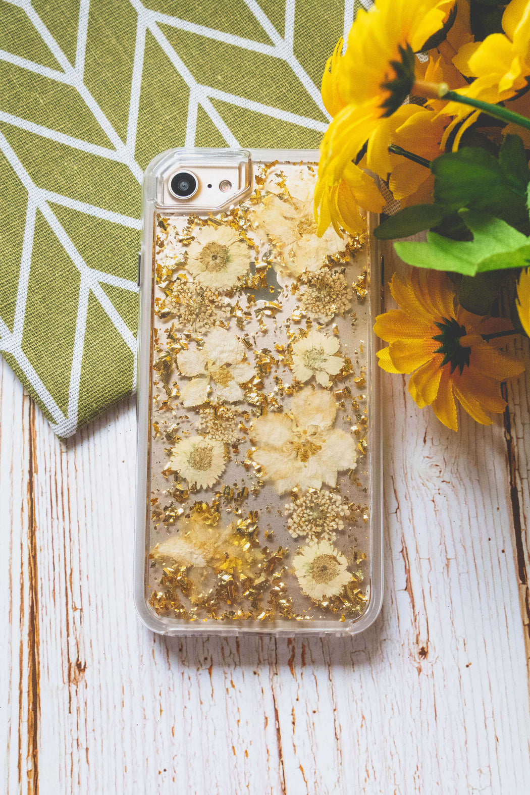 pressed flower iphone case cute protective anti drop yellow daisy gold foil glitter luxury wildflower floral neverland floralfy