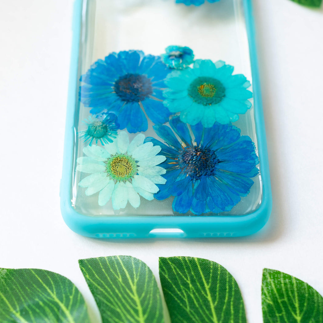 Turquoise | Pressed Flower iPhone Bumper Case | iPhone X/XS