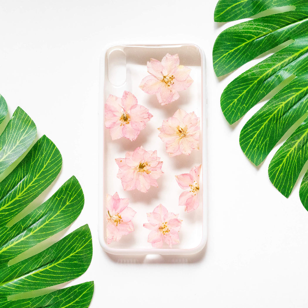 Sakura Rain | Pressed Flower iPhone Bumper Case | iPhone X/XS