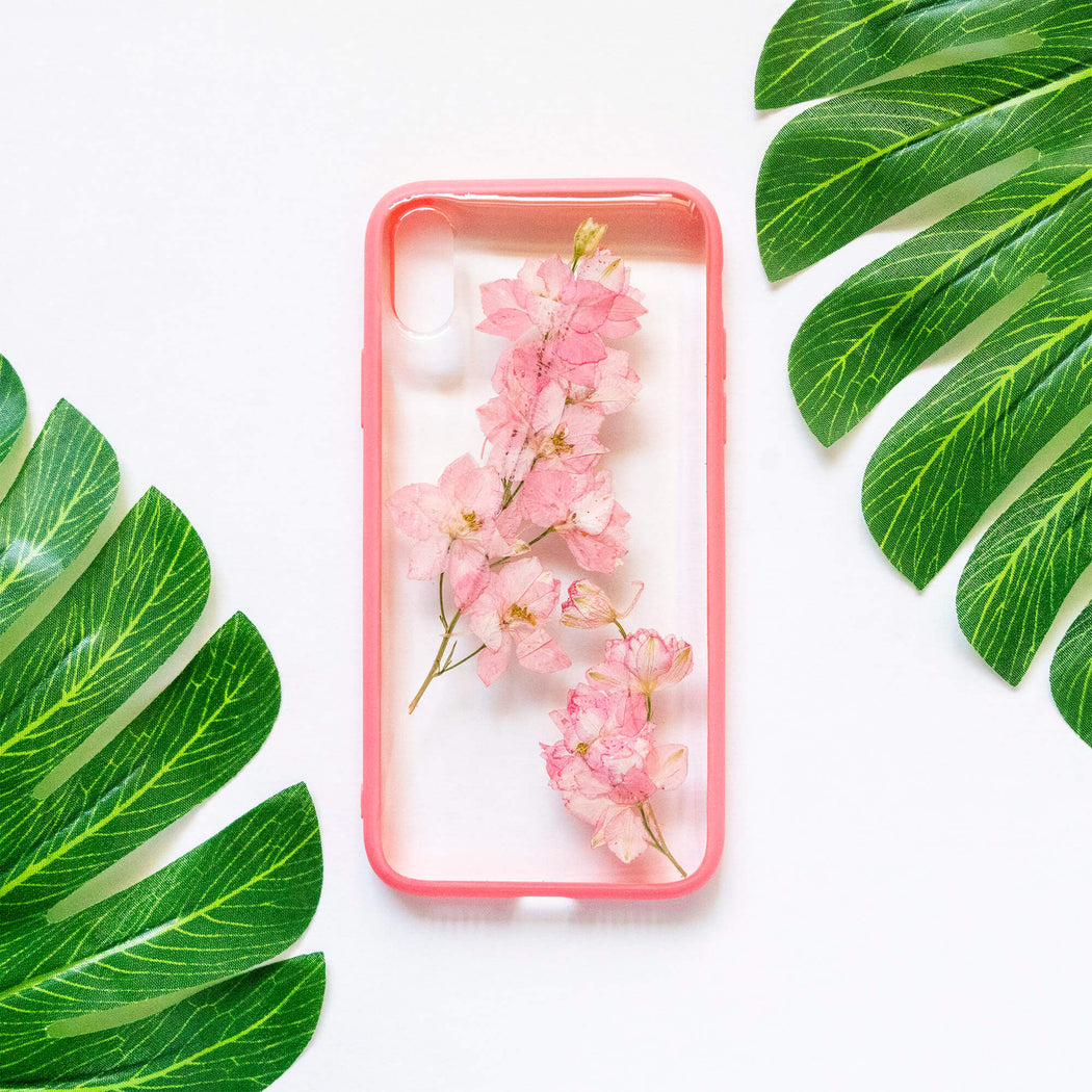 pressed flower iphone x xs case pink cherry blossom floral cute protective iphone case floral neverland floralfy 01