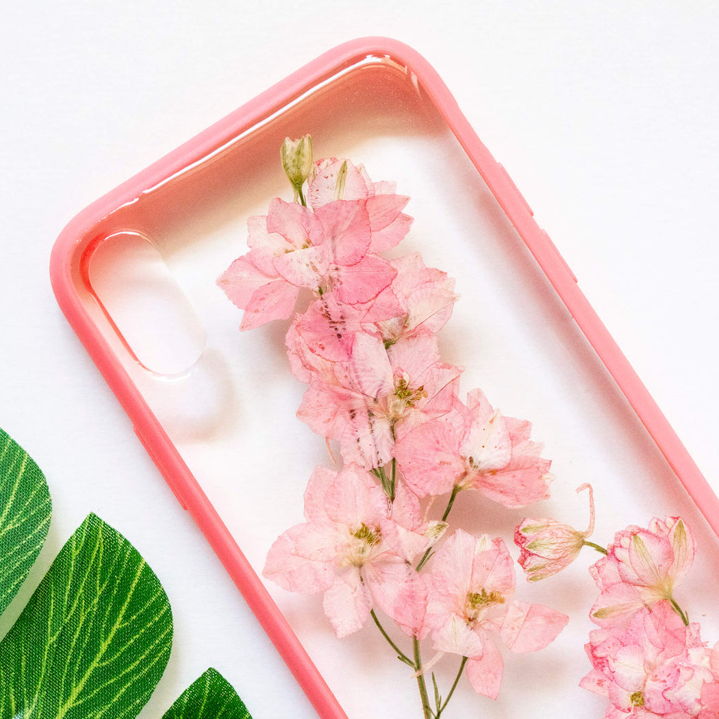 pressed flower iphone x xs case pink cherry blossom floral cute protective iphone case floral neverland floralfy 02