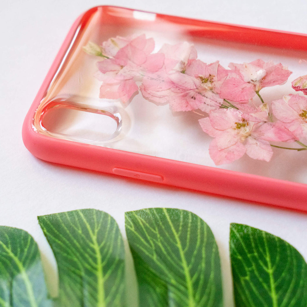 pressed flower iphone x xs case pink cherry blossom floral cute protective iphone case floral neverland floralfy 04