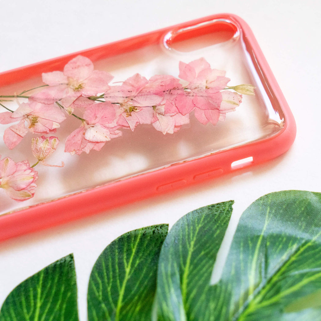 pressed flower iphone x xs case pink cherry blossom floral cute protective iphone case floral neverland floralfy 05