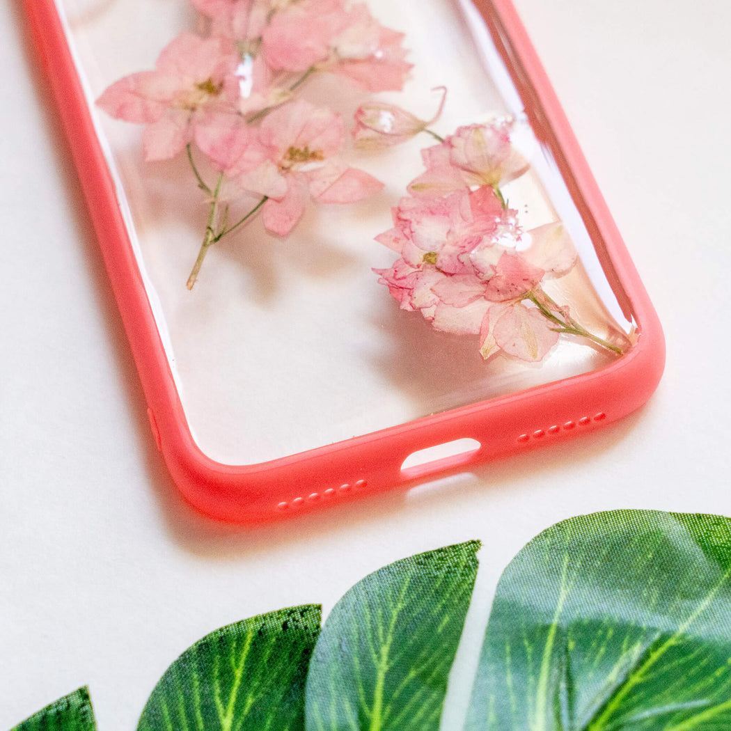pressed flower iphone x xs case pink cherry blossom floral cute protective iphone case floral neverland floralfy 06