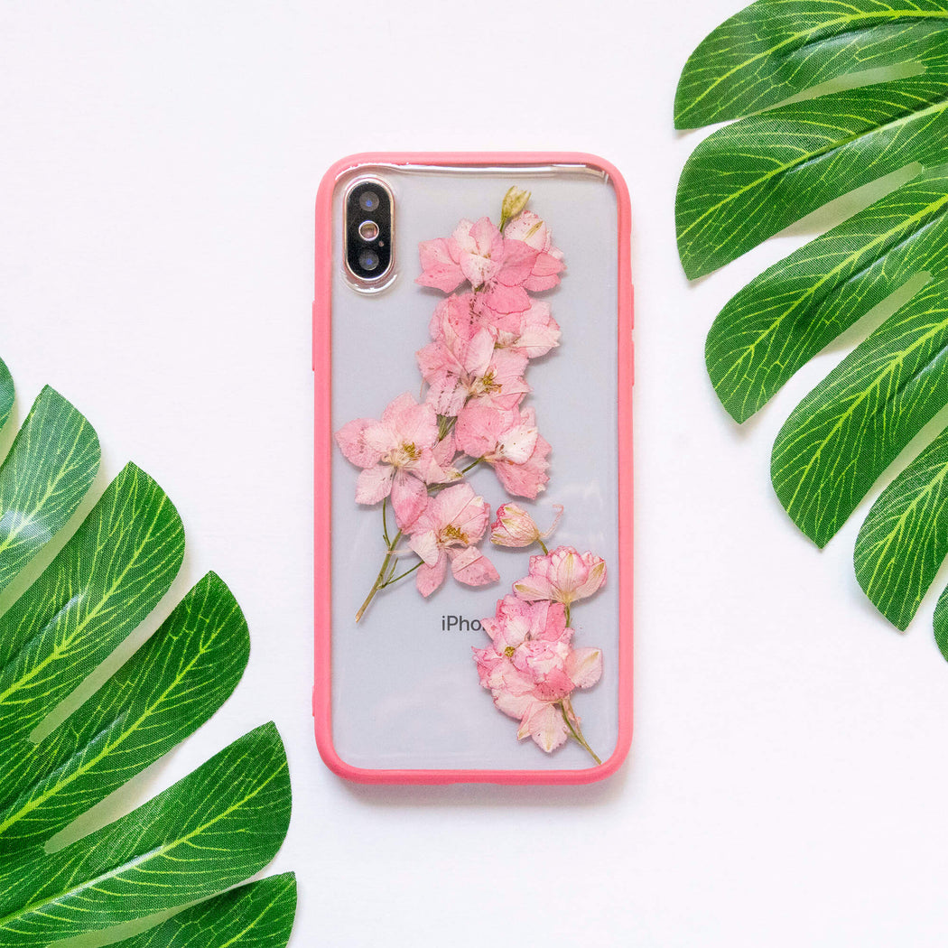 pressed flower iphone x xs case pink cherry blossom floral cute protective iphone case floral neverland floralfy 07
