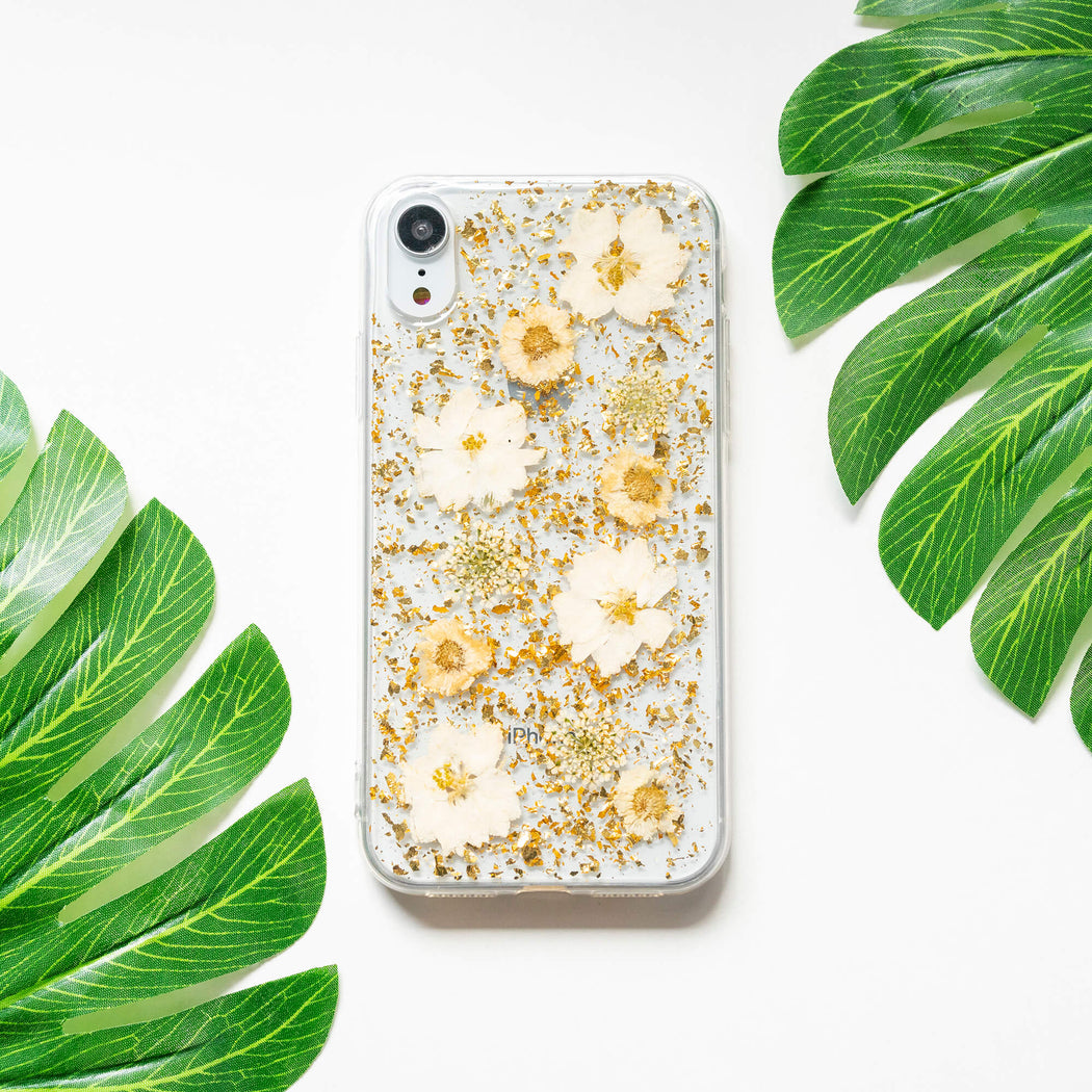 Aurelia | Pressed Flower iPhone Bumper Case With Gold Foil | iPhone XR
