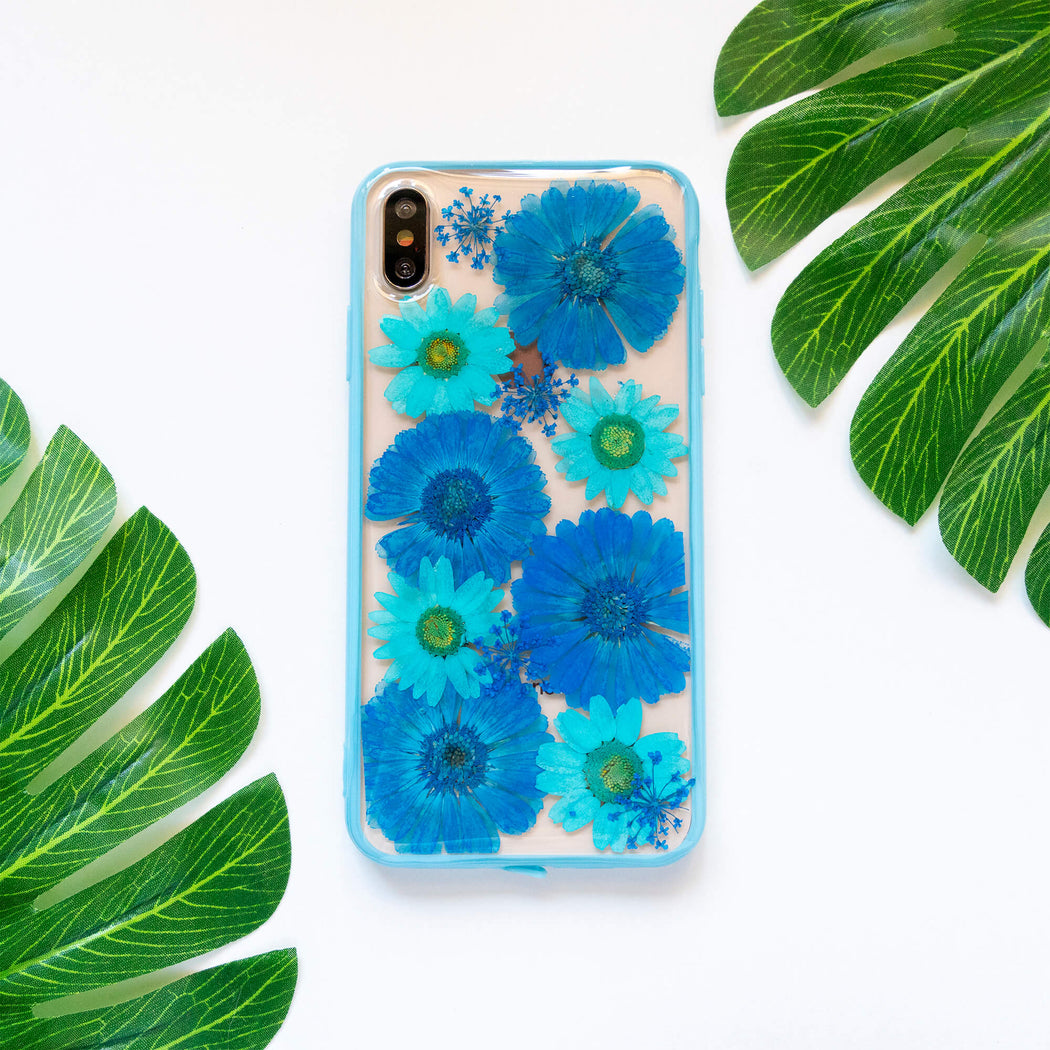 Blue Daisy | Pressed Flower iPhone Bumper Case | iPhone XS Max