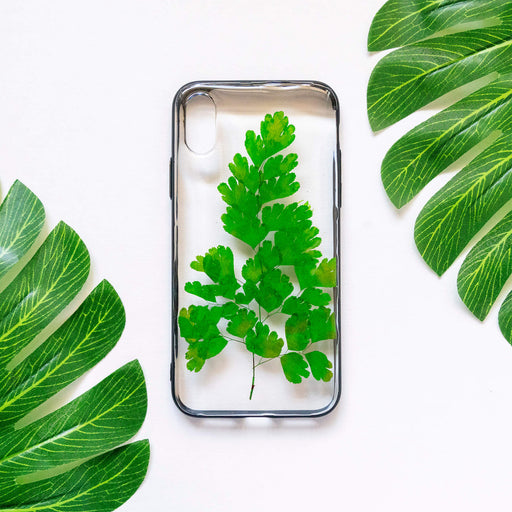 pressed green fern iPhone x xs case cute protective iphone bumper case floral neverland floralfy 01