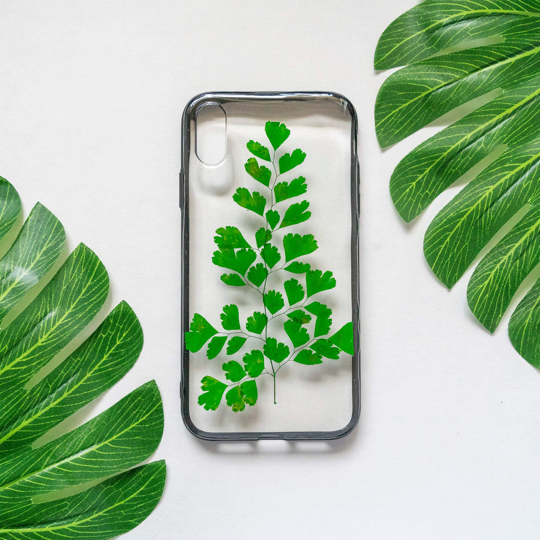 pressed green fern leaf flower iphone xr case clear protective strong iphone bumper case floral neverland floralfy 01