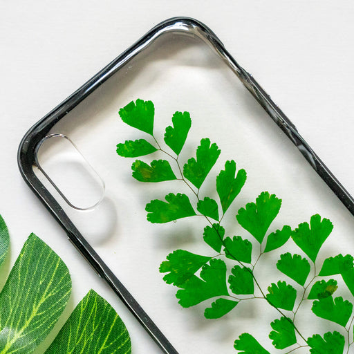 pressed green fern leaf flower iphone xr case clear protective strong iphone bumper case floral neverland floralfy 02