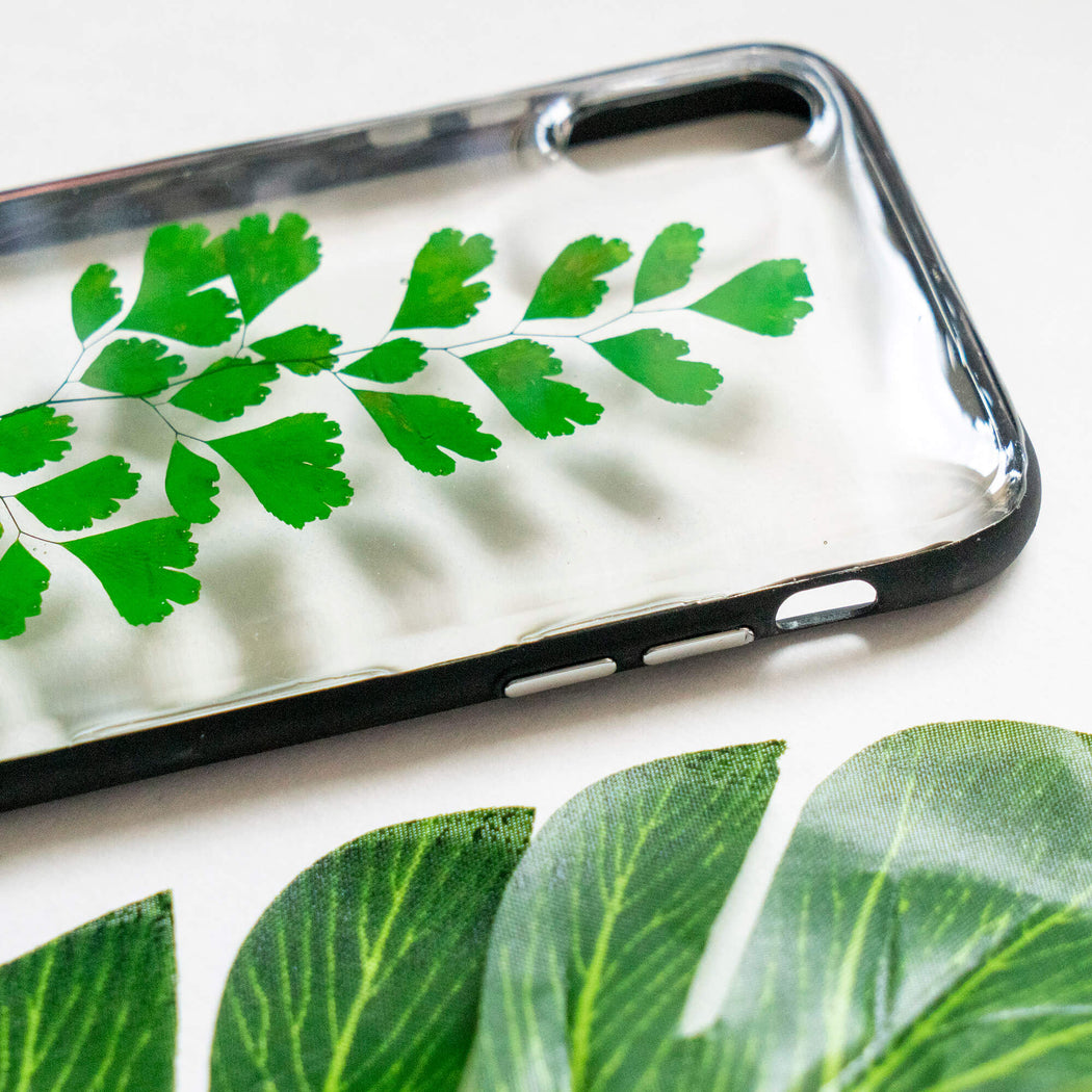 pressed green fern leaf flower iphone xr case clear protective strong iphone bumper case floral neverland floralfy 05
