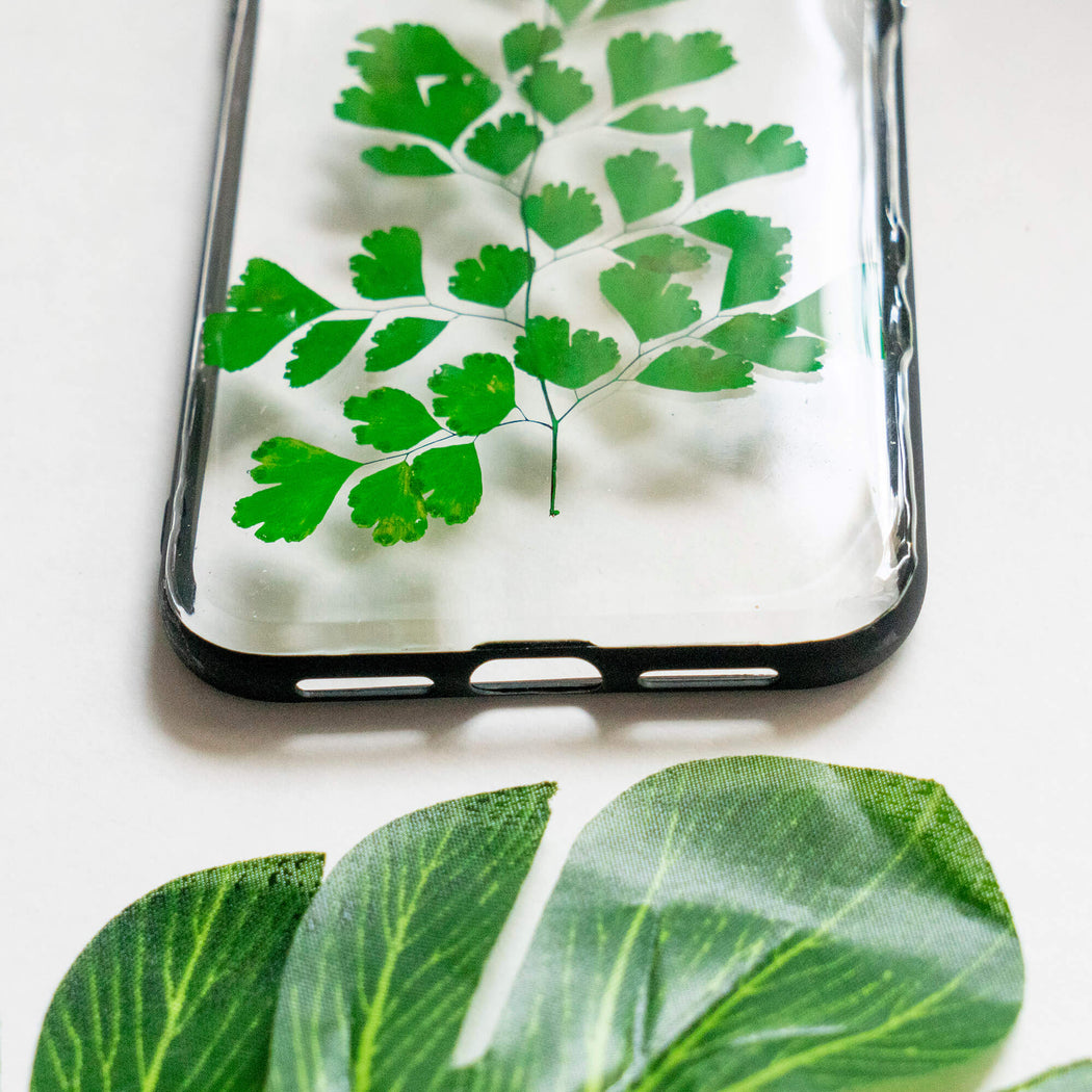 pressed green fern leaf flower iphone xr case clear protective strong iphone bumper case floral neverland floralfy 06