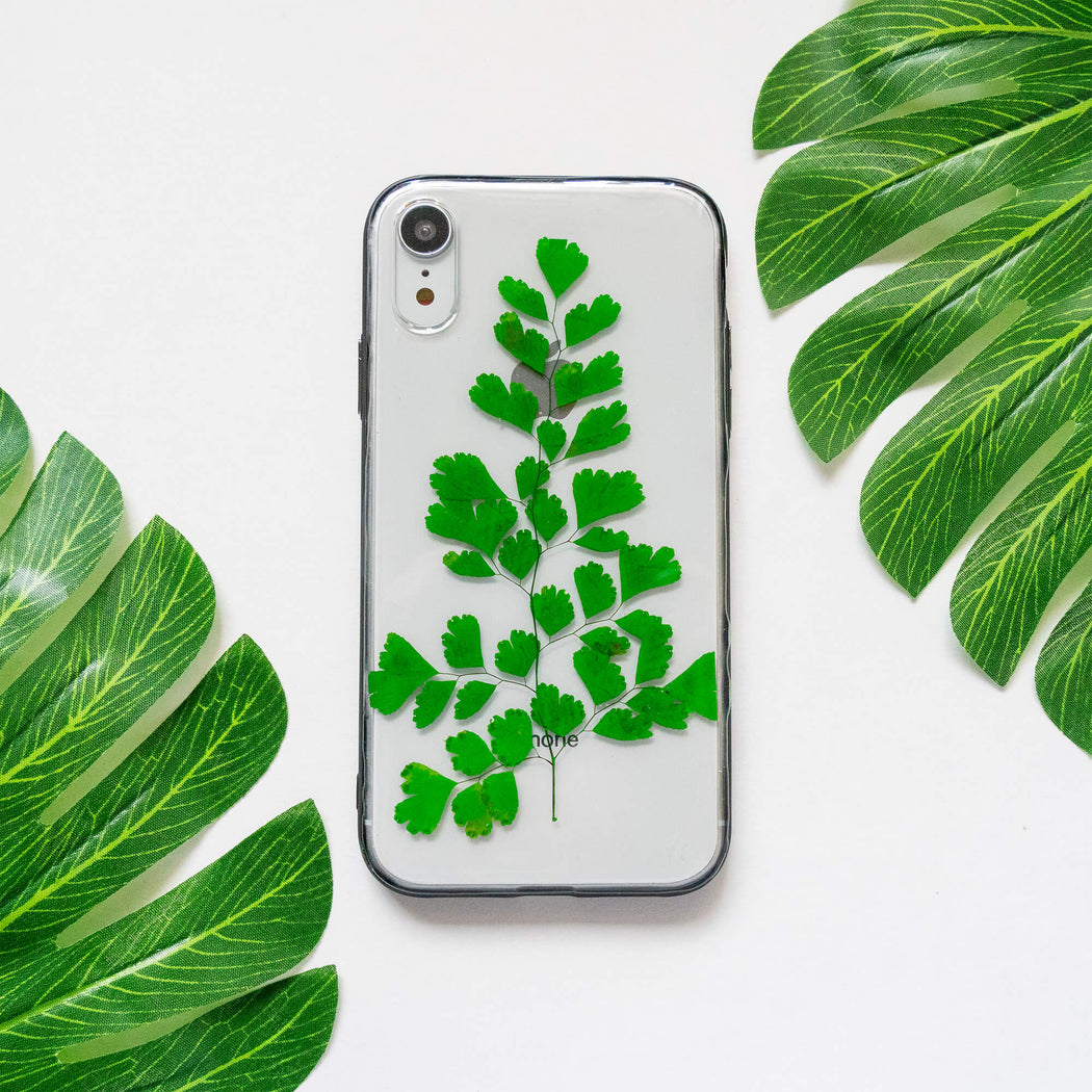 pressed green fern leaf flower iphone xr case clear protective strong iphone bumper case floral neverland floralfy 07