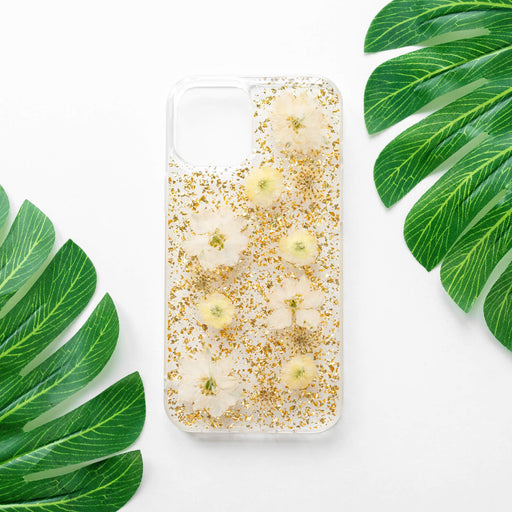 Luxury Pressed Wildflower iPhone Bumper Case | Yellow Daisy Flowers with Gold Foil | iPhone 12