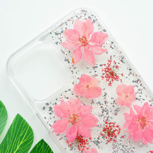 Luxury Pressed Wildflower iPhone Bumper Case | Pink Cherry Blossom with Silver Foil | iPhone 12