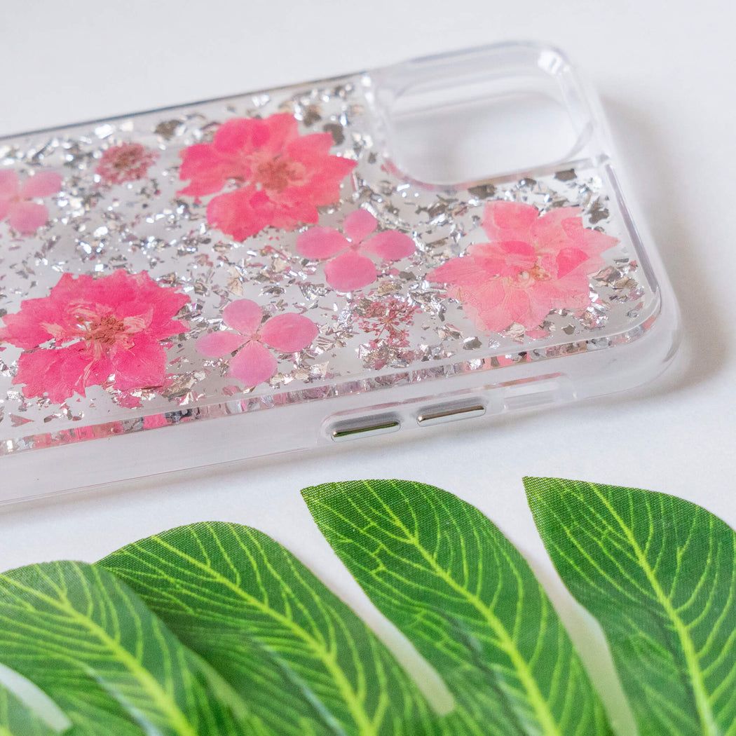 Luxury Pressed Wildflower Cute Protective iPhone Bumper Case | Pink Cherry Blossom with Silver Foil