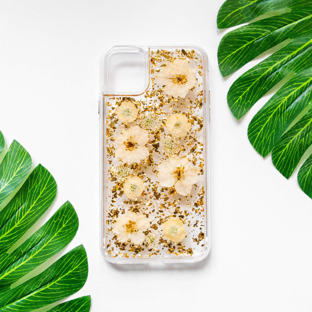 Luxury Pressed Wildflower Cute Protective iPhone Bumper Case | Yellow Daisy Flowers with Gold Foil