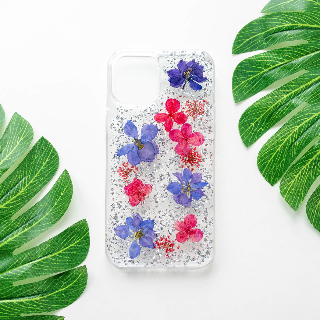 Luxury Pressed Wildflower iPhone Bumper Case | Purple Lavender with Silver Foil | iPhone 12