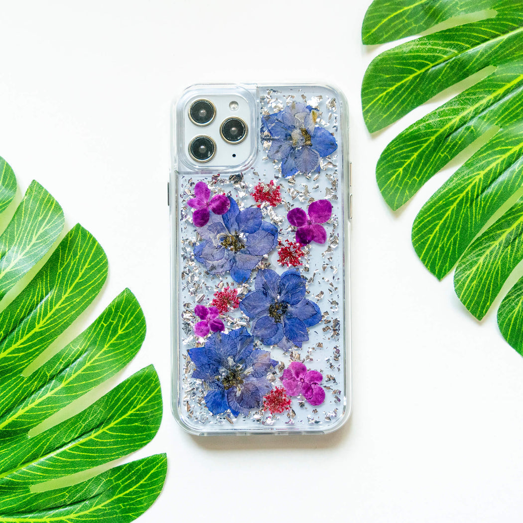 Luxury Pressed Wildflower Cute Protective iPhone Bumper Case | Purple Lavender with Silver Foil