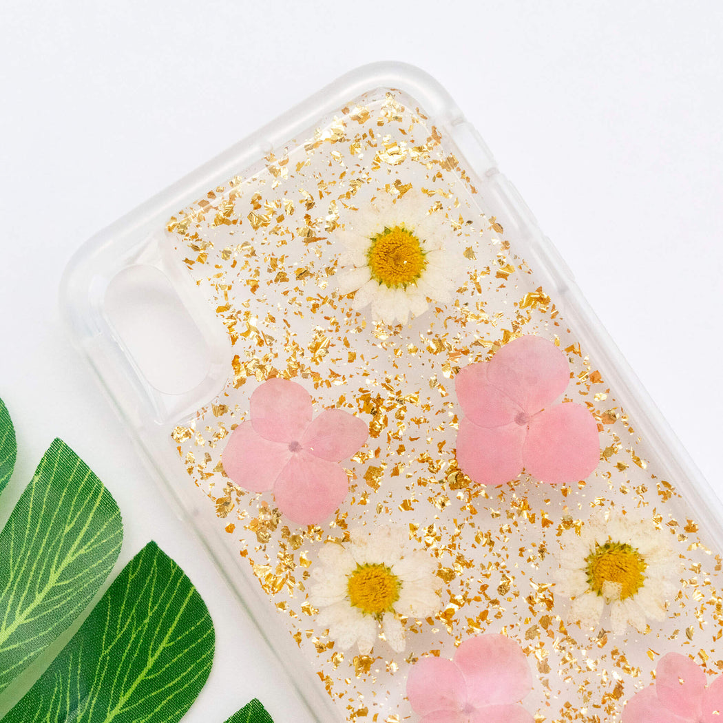 pressed pink flower iphone case cute protective anti drop bumper gold foil glitter luxury wildflower floral neverland floralfy