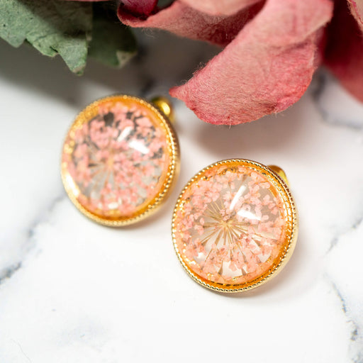 Pressed Lace Flower Stud Earrings | Pink
