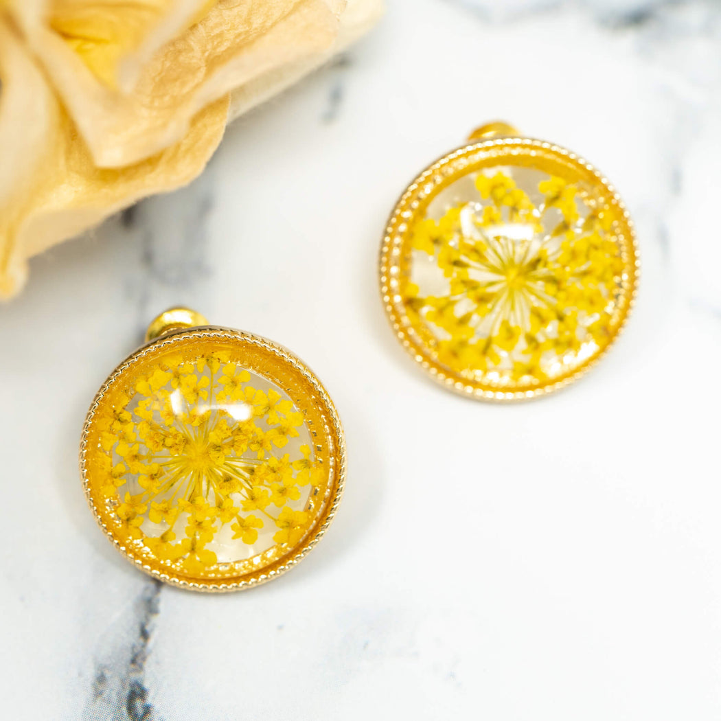 Pressed Lace Flower Stud Earrings | Yellow