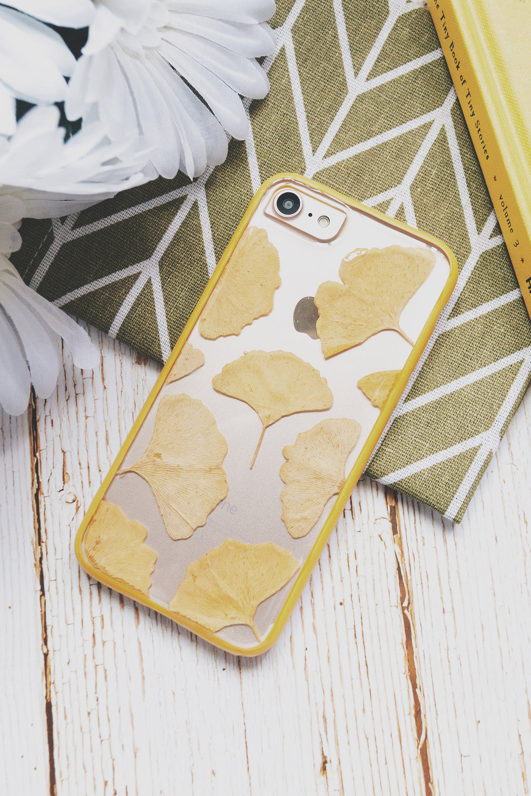 pressed Yellow ginkgo leaf flower cute protective floral iphone 7 8 bumper case everlasting floral neverland floralfy
